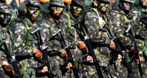 Members of the army take part at Brazil's Independence Day parade in Brasilia, Brazil, Tuesday, Sept. 7, 2010. Brazil is celebrating 188 years of Independence.  (AP Photo/Eraldo  Peres)